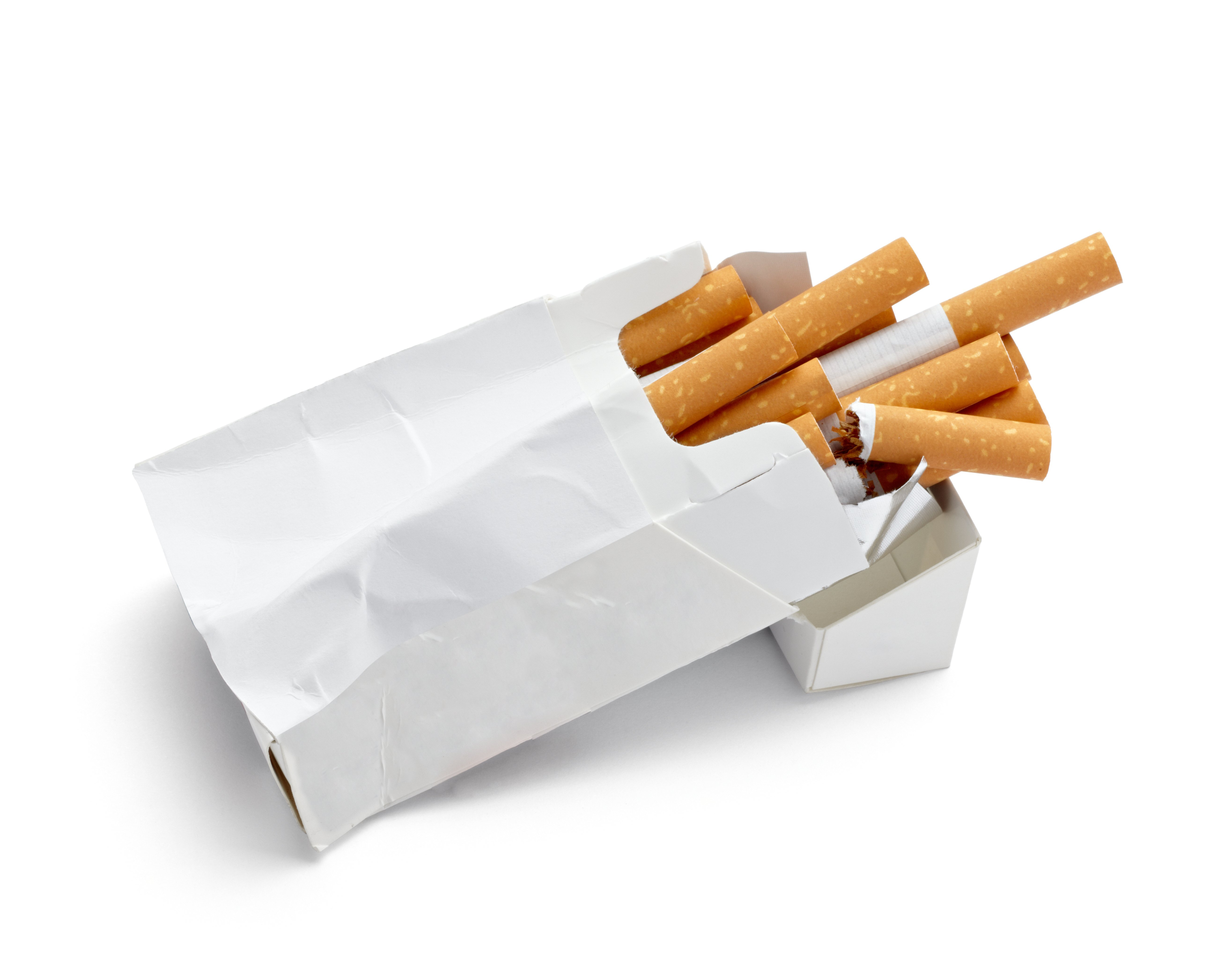 close up of a trashed box of cigarettes on white background with clipp